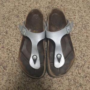 Silver Birkenstock Gizeh Sandals 38